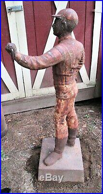 Antique Architectural Garden USA Cast Iron Lawn Jockey Lamp Statue Hitching Post