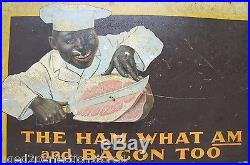 Antique Armour's Star Ham'Black Americana' Sign The Ham What Am and Bacon Too