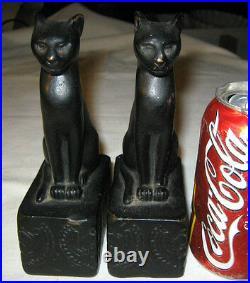 Antique Art Deco Egyptian Armor Bronze Clad Mfg Co Cat Statue Sculpture Bookends