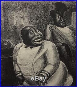 Antique Authentic 1933, Howard Baer, Black Americana Jazz Night Club Lithograph