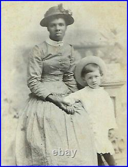 Antique Black African American Nanny with Charge Cabinet Card Photograph