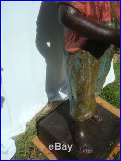 Antique Black American Lawn Jockey Cast Iron, 39 (46 On Stand)