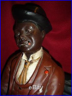Antique Black Americana Advertising Smoking Seated Dandy Men Polychrome Figure