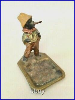 Antique Black Americana Bobble Head Nodder Ashtray Boy Smoking Cigar