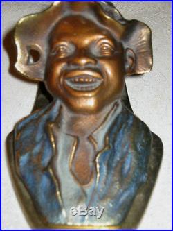 Antique Black Americana Boy Cast Iron Desk Paper Weight Wall Art Holder Clip