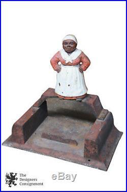 Antique Black Americana Cast Iron Boot Scraper Mammy Figural Aunt Jemima 15