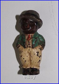 Antique Black Americana Cast Iron Cigar Man Hubley Foundry Orig. Paint Finish