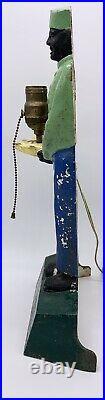 Antique Black Americana Cast Iron Door Stop Lamp Hotel Valet Bell Hop, Art Deco