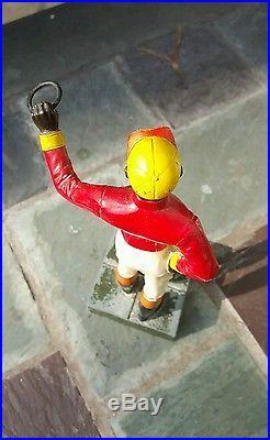 Antique Black Americana Cast Iron Lawn Jockey Hitching Post Small Statue Rare