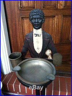 Antique Black Americana Cast Iron Statue Smoking Stand Ashtray