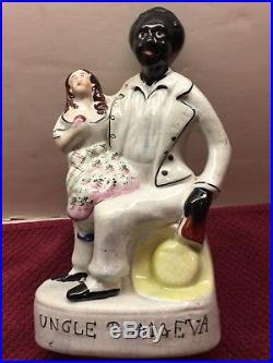Antique Black Americana Ceramic Uncle Tom & Eva Figurine mid to late 1800's