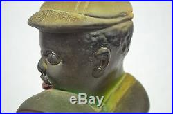 Antique Black Americana Chalkware Boy With Watermelon Bank Statue Original