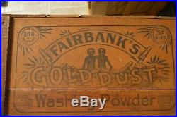 Antique Black Americana Fairbank's GoldDust Washing Powder Soap Wooden Box Crate