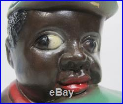 Antique Black Americana Folk Art Child w Watermelon Porcelain Coin Bank NR yqz