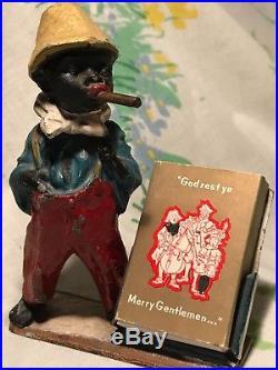 Antique Black Americana Gentleman Cigar Cold Painted Austrian Bronze Bobble Head