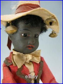 Antique Black Americana German bisque head pull toy plays drums