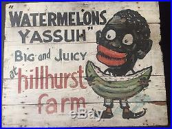 Antique Black Americana Hand Painted Folk Art Advertising Sign