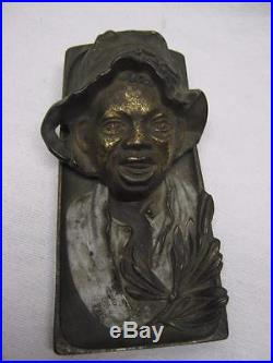 Antique Black Americana INK WELL Cast iron with Bronze Finish TOC