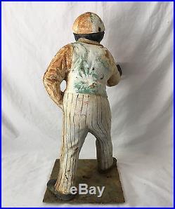 Antique Black Americana Jocko The Jockey Cast Iron Hitching Post 36 Tall
