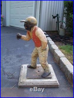 Antique Black Americana Jocko the Jockey Lawn Jockey