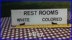Antique Black Americana L&N Railroad Reverse Paint White Colored Restroom Sign