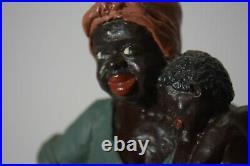 Antique Black Americana Laundry Lady Holding Boy Figurine