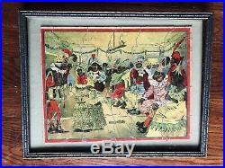 Antique Black Americana Picture Puzzle Parker Bros 1894 Darktown Fancy Ball