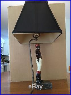 Antique Black Americana Spelter Lawn Jockey Salesman's Sample Made Into Lamp