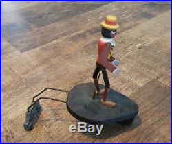 Antique Black Americana Wooden Jointed Dancing Man Record Player Topper