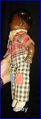Antique Black Boy Doll Fabulous With Original Clothes Black Americana C1900 Rare