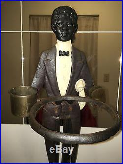 Antique Black Butler Smoking Stand Ash Tray & Matching Cast Iron Statue-no Tray