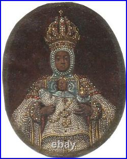 Antique Byzantine Mosaic Russian Theotokas Panagia Miniature