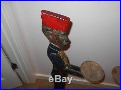 Antique CAST IRON black americana statues bellboy smoking stand hotel bellhop