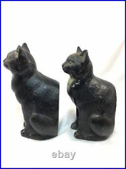 Antique CJO JUDD CAST IRON Black Cat Door StopsBookends Art Statues-Rare, HTF