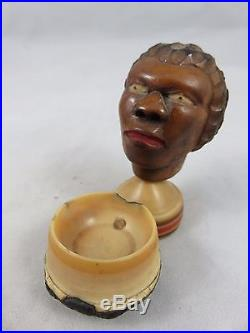 Antique Carved Nut Head with Bowl African American Black Americana Folk Art