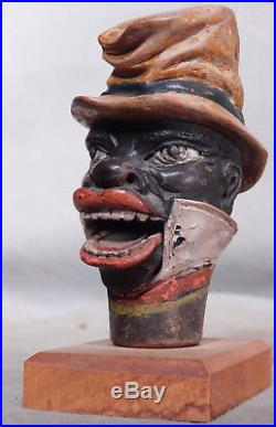 Antique Carved Wood Black Americana Minstrel Articulated Jaw Singer Automaton