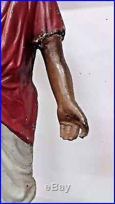 Antique Cast Iron African American Lantern Boy 45 Tall