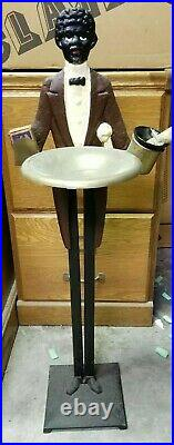 Antique Cast Iron Black Americana Butler Smoking Tobacco Ashtray Stand 33 Tall