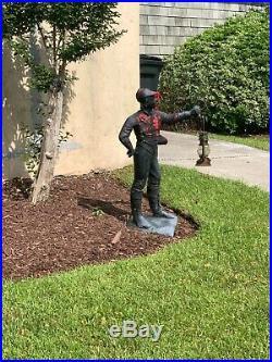 Antique Cast Iron Black Americana LAWN JOCKEY Decor Figurine 44in