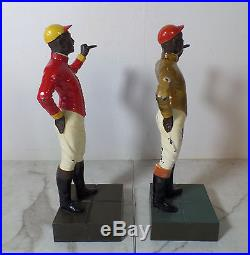 Antique Cast Iron Black Americana Lawn Jockey Bookends Statues Hitching Posts