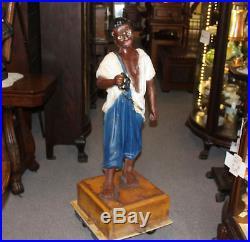 Antique Cast Iron Black Americana Lawn Jockey Hitching Post