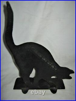 Antique Cast Iron Black Cat Doorstop Art Statue USA Hubley Home Door Sculpture