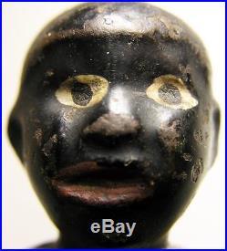Antique Cast Iron Blackman Figural Broom Holder Pat 1894 Orig. Paint F E Allen Co