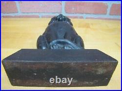 Antique Cast Iron Cat Doorstop Scary Kat Black Green Eyes Decorative Art Statue
