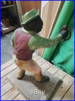 Antique Cast Iron Hitching Post Black Americana Stable Hand Lawn Jockey 26.5 H