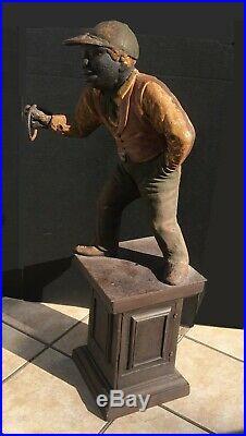 Antique Cast Iron Jockey Hitching Post 37 Tall Original Paint Lantern Jocko