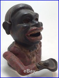 Antique Cast Iron Jolly Bank Black Americana Original No Touch-Ups Eyes Roll