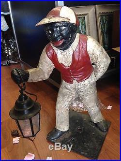 Antique Cast Iron Lawn Jockey, AUTHENTIC Black American Lawn Jockey, JOCKO