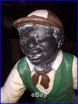 Antique Cast Iron Lawn Jockey, AUTHENTIC Black Americana Lawn Jockey, JOCKO