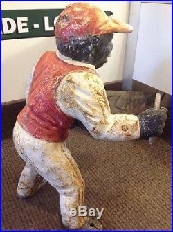 Antique Cast Iron Lawn Jockey AUTHENTIC Black Americana Lawn Jockey JOCKO